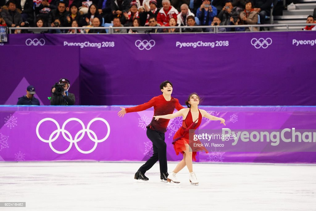 USA Maia Shibutani and Alex Shibutani in action during Ice Dance Free Dance at Gangneung Ice Arena. Shibutanis won bronze medal. Erick W. Rasco X161686 TK1 )