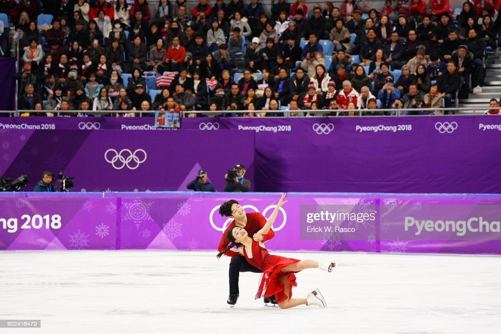 USA Maia Shibutani and Alex Shibutani in action during Ice Dance Free Dance at Gangneung Ice Arena. USA won bronze medal. Erick W. Rasco X161686 TK1 )