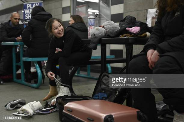 Alysa Liu laces up her skates before training session photo shoot A Day in the Life Oakland CA CREDIT Deanne Fitzmaurice