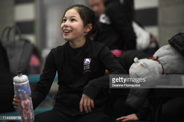 Alysa Liu taking break from practice session photo shoot A Day in the Life Oakland CA CREDIT Deanne Fitzmaurice