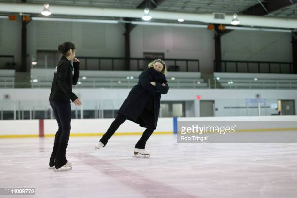 Alysa Liu with her coach during practice session photo shoot at Tom Graham Arena A Day in the Life Richmond Hill Ontario Canada 4/29/2019 CREDIT Rob...