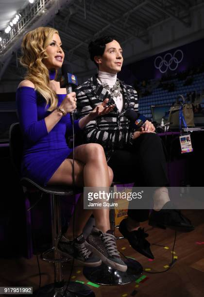 Figure skating announcers Tara Lipinski and Johnny Weir prepare for the start of the Pair Skating Short Program on day five of the PyeongChang 2018...