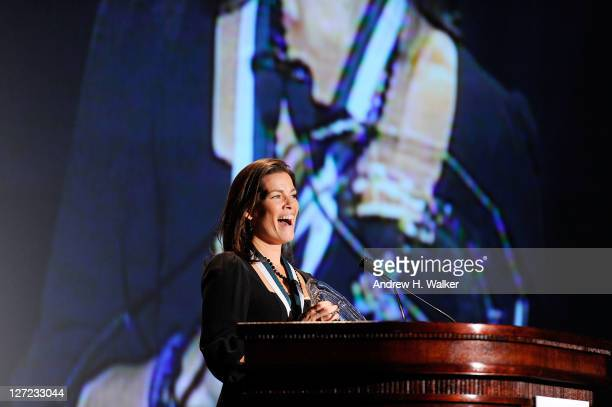 Figure skating champion Nancy Kerrigan speaks at the 26th Annual Great Sports Legends Dinner to benefit the Buoniconti Fund To Cure Paralysis at The...