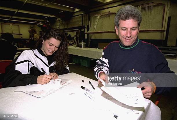 Christmas On Ice Nancy Kerrigan with her agent Jerry Solomon backstage after exhibition at Cumberland County Civic Center Portland ME CREDIT Bill...