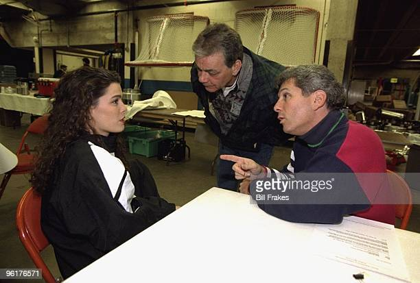 Christmas On Ice Nancy Kerrigan with her father Dan Kerrigan and agent Jerry Solomon backstage after exhibition at Cumberland County Civic Center...
