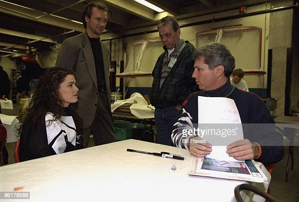 Christmas On Ice Nancy Kerrigan with her father Dan Kerrigan agent Jerry Solomon and miscellaneous performer backstage after exhibition at Cumberland...