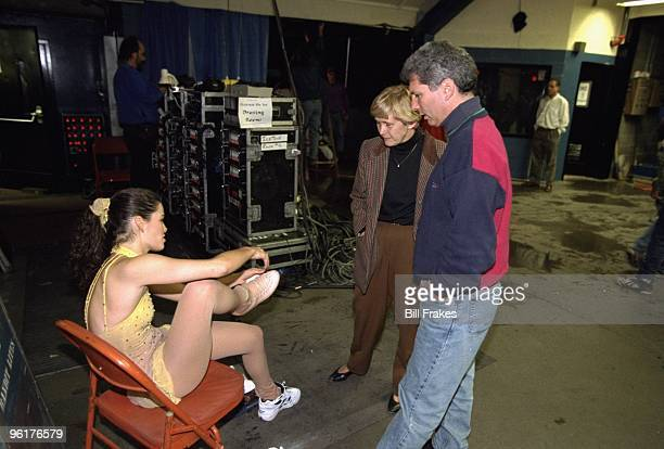 Christmas On Ice Nancy Kerrigan with her mother Brenda Kerrigan and agent Jerry Solomon backstage after exhibition at Cumberland County Civic Center...