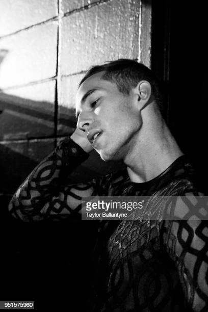Closeup portrait of Adam Rippon during practice session before filming of Stars on Ice television show at Nassau Veterans Memorial Coliseum Behind...