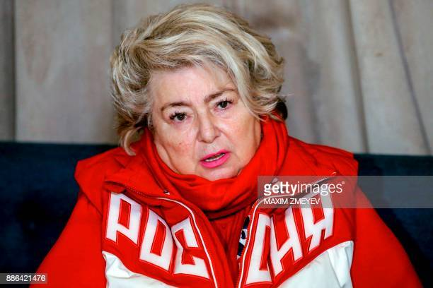 Figure skating coach Tatiana Tarasova speaks to the media on December 5 2017 in Moscow after the International Olympic Committee announced the...