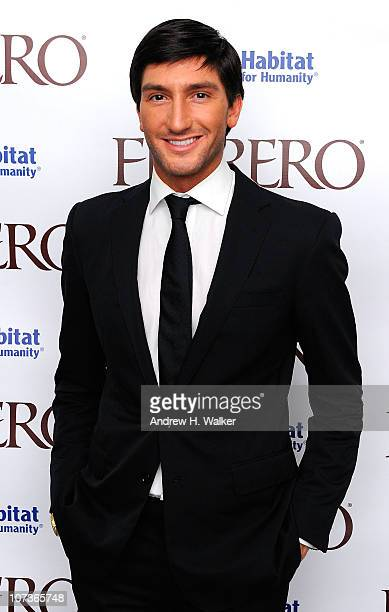 Figure skating gold medalist Evan Lysacek attends Ferrero Chocolates and Evan Lysacek Fashion Event at Top of the Rock's 620 Loft & Garden on...