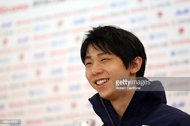 Figure Skating Men's Singles gold medalist Yuzuru Hanyu attends a press conference at Japan House on day eight of the Sochi 2014 Winter Olympics at...