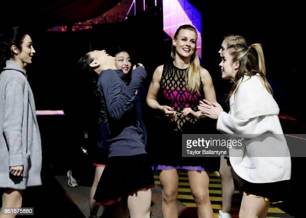Meryl Davis Mirai Nagasu Maia Shibutani Madison Hubbell Ashley Wagner and Bradie Tennell during practice session before filming of Stars on Ice...