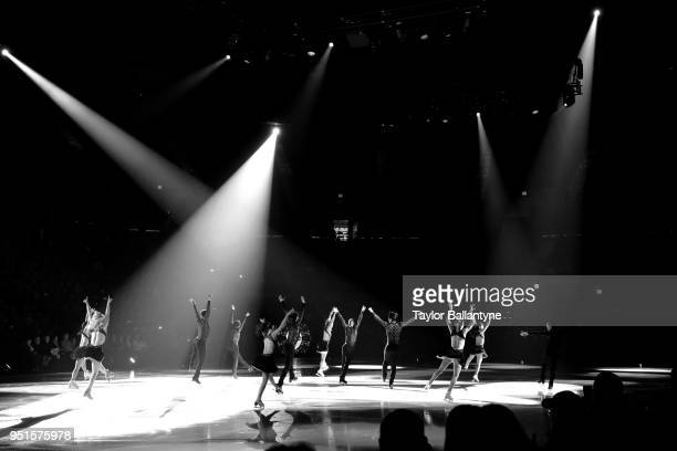 Overall view of skaters performingduring practice session before filming of Stars on Ice television show at Nassau Veterans Memorial Coliseum Behind...