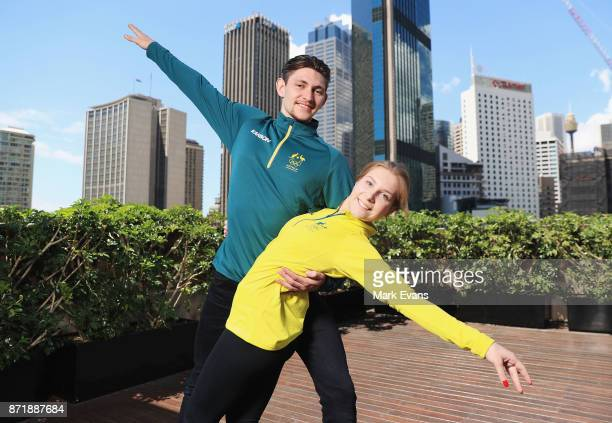 Figure skating pair Harley Windsor and Ekaterina Alexandrovskaya pose for photographs during the Australia Winter Olympic Athlete Announcement at...