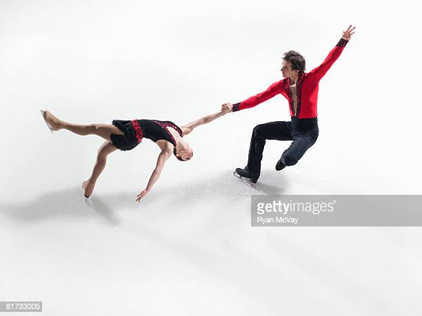 Figure skating pair performing a death spiral
