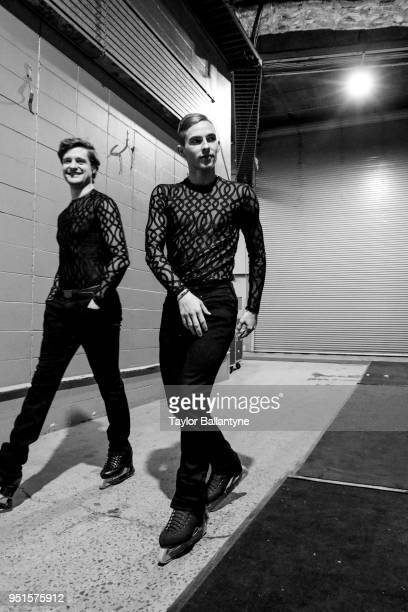 Portrait of Adam Rippon and Charlie White in runway on way to ice during practice session before filming of Stars on Ice television show at Nassau...