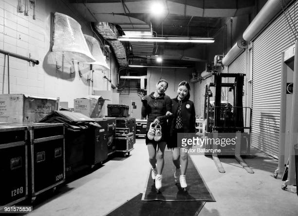 Portrait of Mirai Nagasu and Maia Shibutani posing in runway during practice session before filming of Stars on Ice television show at Nassau...
