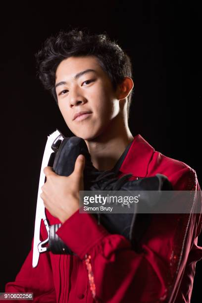 Winter Games Preview Portrait of Nathan Chen posing during Team USA Media Summit photo shoot at Grand Summit Hotel Park City UT CREDIT Simon Bruty