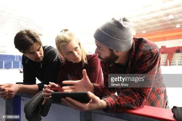 Winter Games Preview View of ice dancers Madison Hubbell and Zachary Donohue with choreographer Sam Chouinard during practice session at Centre...