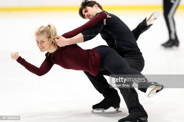 Winter Games Preview View of ice dancers Madison Hubbell and Zachary Donohue in action during practice session at Centre Gadbois Behind the Scenes...