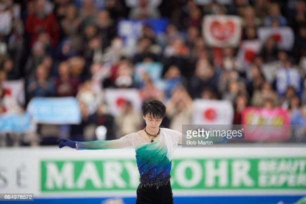 World Championships Japan Yuzuru Hanyu in action during Men's Free Skate at Hartwall Arena Helsinki Finland 4/1/2017 CREDIT Bob Martin