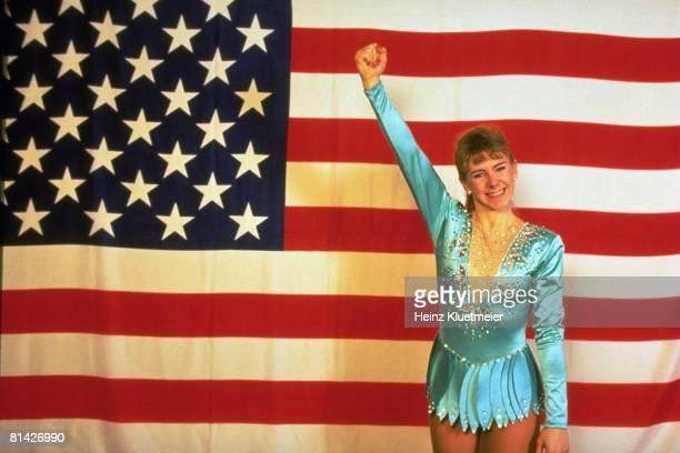 Figure Skating World Championships Portrait of USA Tonya Harding with USA flag at Olympia Eisstadion Munich Germany 3/11/1991