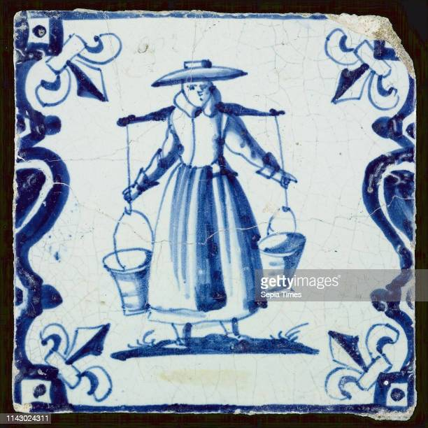 Figure tile, milkmaid with yoke, corner pattern french lily, wall tile tile sculpture ceramic earthenware enamel tinglage, baked 2x glazed painted...