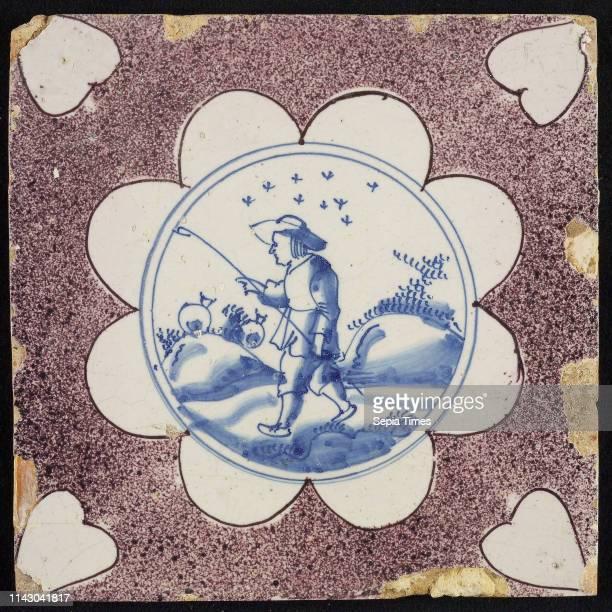 Figure tile purple sprinkled tile shepherd with staff corner motif heart wall tile tile sculpture ceramic earthenware glaze baked 2x glazed painted...