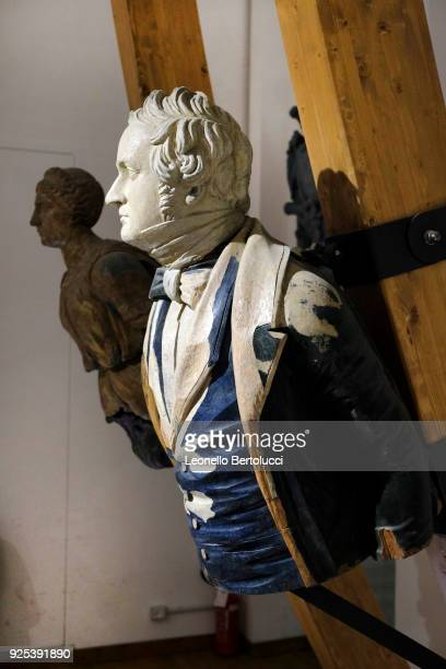 A figurehead of the City of Aberdeen depicting George Hamilton Gordon IV Earl of Aberdeen english politician and ambassadoron on display at the Naval...