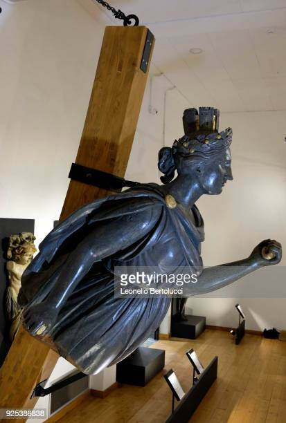 A figurehead of the Italia depicting the new Italy while braking the chains of the foreign domination on display at the Naval Technical Museum on...