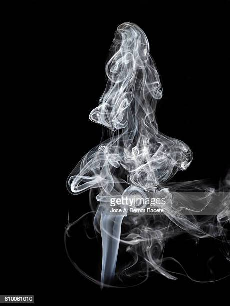 Figures and forms of white smoke in movement on a black background