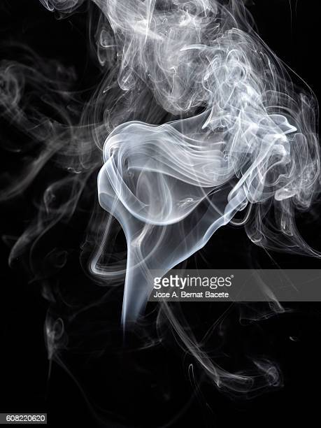 Figures and forms of white smoke in movement on a black bottom