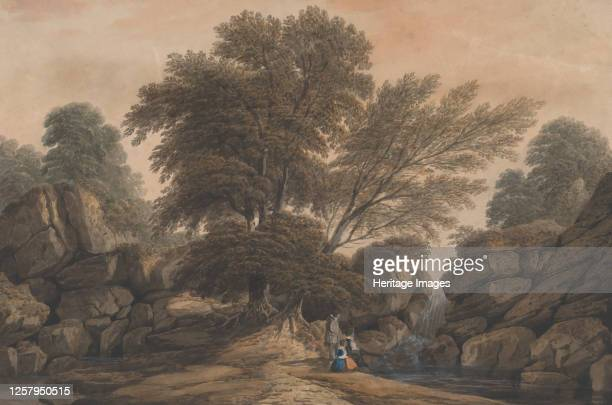 Figures Beside a Waterfall and Pool in a Wooded Landscape 1812 Artist John Varley I