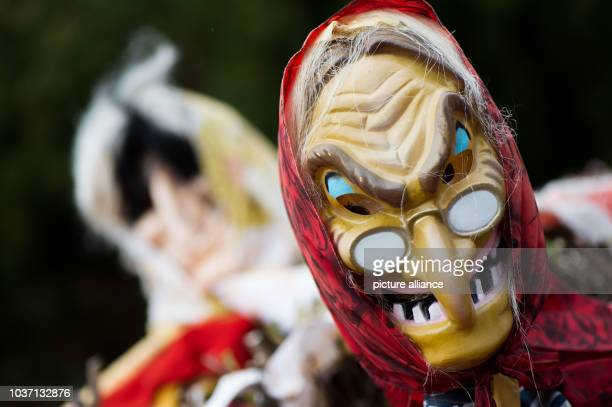 Figures dressed up as devils and witches sit between fir branches before Walpurgis Night in Braunlage Germany 21 April 2017 The Night of Nights is...