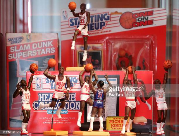 Figures from the Michael Jordan toy historian collector Joshua De Vaney are seen on May 16 2020 in Perth Australia With over 150 different pieces in...