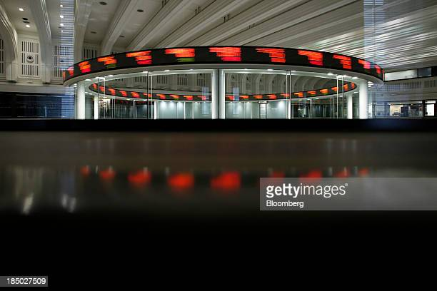Figures move along an electronic stock ticker at the Tokyo Stock Exchange in this longexposure photograph taken in Tokyo Japan on Thursday Oct 17...