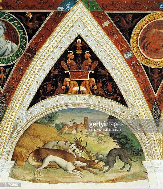 Figures of animals, detail of a fresco by Lorenzo Leonbruno , Isabella D'Este's apartments, Ducal Palace, Mantua . Italy, 16th century.