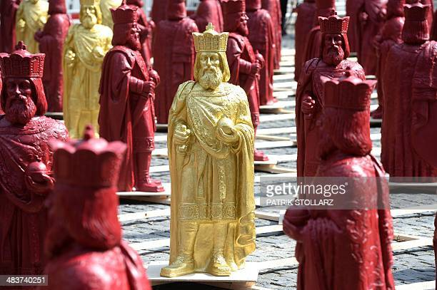 Figures of Charlemagne, also known as Charles I, stand on square Katschof in Aachen, Germany, on April 10, 2014. 500 figures in total will be...