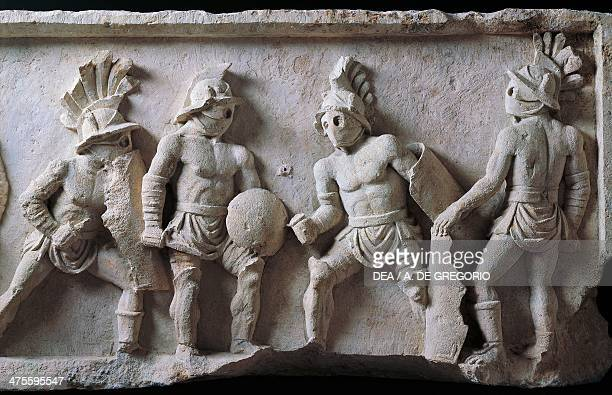 Figures of gladiators detail from a marble relief Lusius Storax's tombstone ca 3050 Roman civilisation 1st century Chieti Museo Nazionale...