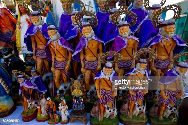 Figures of San Lazaro are displayed outside the church of San Lazaro on December 16 2017 in La Habana Cuba Thousands of believers gather at the...