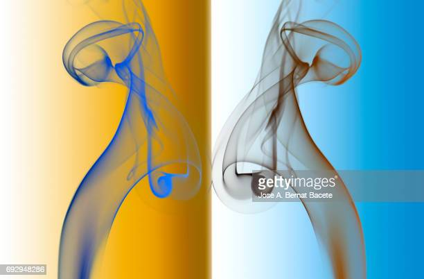Figures of smoke of circular forms with forms symmetrycal gray color on a orange and blue  bottom