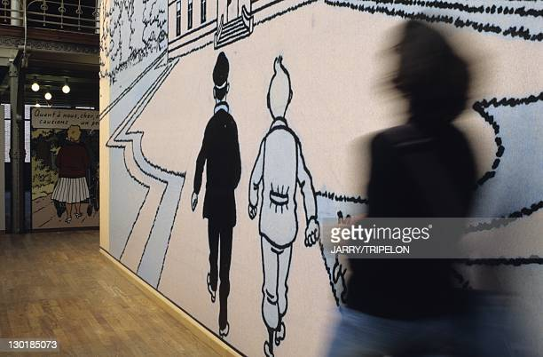 Figures of Tintin and Captain Haddock at the Comic strip belgian center in Brussels Belgium
