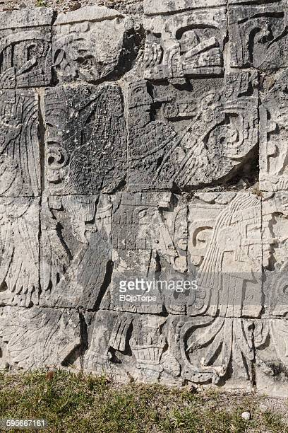 Figures on a wall in Uxmal, Yucatán, Mexico