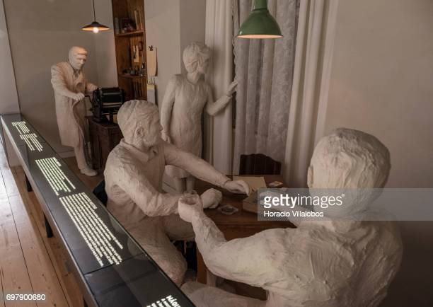Figures representing a resistants' meeting against Portuguese dictatorship are seen on display at the Aljube Museum For Resistance and Freedom on...