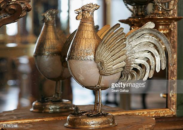 A figurine made from a shell stands among exhibits at the Gruenes Gewoelbe Museum on the day of the museum's reopening September 1 2006 in Dresden...