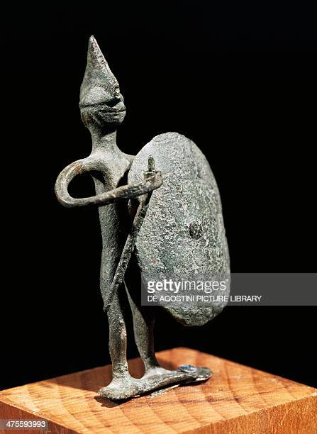 Figurine of a warrior bronze statue from Reitia sanctuary Este Veneto Italy Paleoveneta civilization 5th4th century BC Este Museo Nazionale Atestino