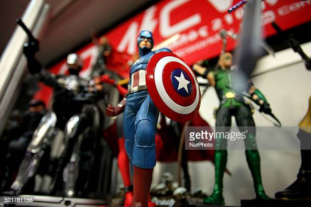 Figurine of cartoon in Captain America costumes during Comicdom Con Festival a threeday comics festival took place at the Hellenic American Union in...