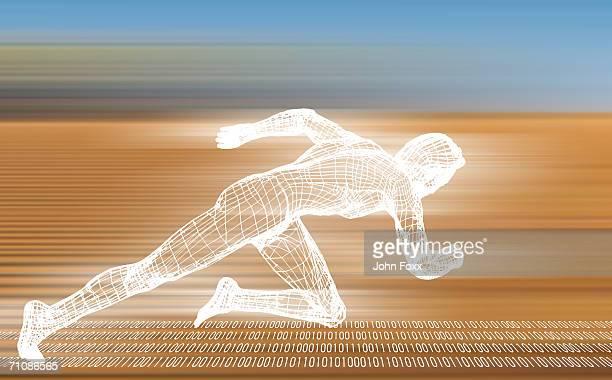 Figurine of man running on binary number (Digitally Generated)