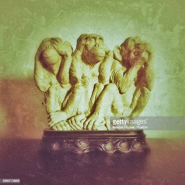 figurine of monkeys - see no evil hear no evil speak no evil stock pictures, royalty-free photos & images