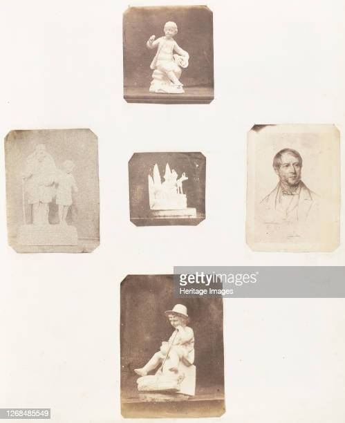 [Figurine of Young Boy Holding Apples Cabinet Card of a Man Figurine of a Young Child with a Hat Sculpture of a Man with Child Sculpture with Animal]...